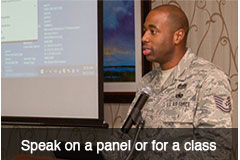 Speak on a panel or for a class