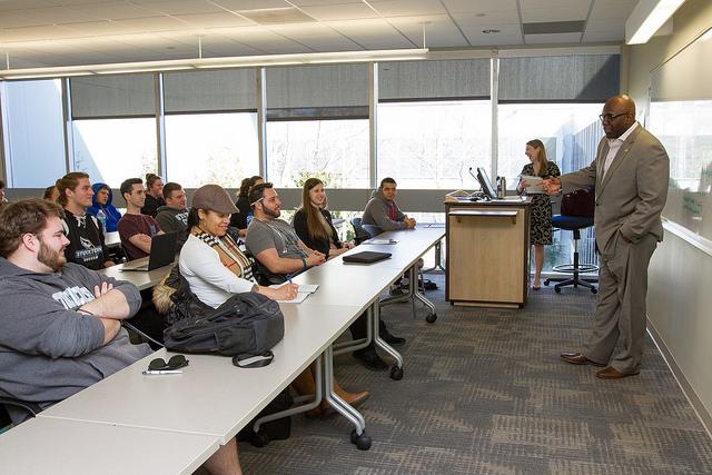 Troy Singleton speaking to students
